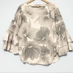 Loft floral tiered ruffle bell sleeve  blouse S